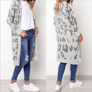 Haute Luxe Cheetah Cardigan Sweater Long Coat